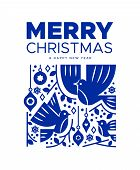 Merry Christmas Happy New Year Greeting Card Illustration Of Winter Decoration And Dove Birds In Tra poster