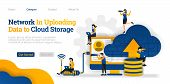 Network In Uploading Data To Cloud Storage. Upload Data On  Database To Cloud For Sharing. Vector Fl poster