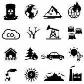 Global Warming And Climate Change Web Line Icon Set poster