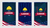 Happy Labor Day For Mobile Phone Screen Design. Usa Labor Day Vertical Texture Background. Happy Lab poster