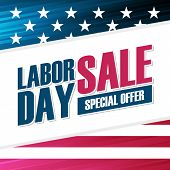 United States Labor Day Sale Special Offer Background With American National Flag For Business, Prom poster