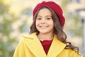Hat Accessory French Fashion Detail. Kid Girl Bright Hat Beret. Autumn Hat Fashion Accessory. French poster