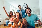 Happy Friends Or Football Fans Watching Soccer On Tv And Celebrating Victory At Home.friendship, Spo poster
