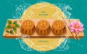 Full Moon And Mooncakes With Chinese Calligraphy Greeting For Mid Autumn Festival. Bunny Or Rabbit O poster