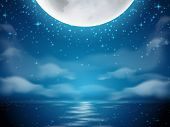 Night Background With Moon And Sea. Dark Background With Moon Reflection On Ocean, River Water. Roma poster
