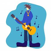 Vintage Rock Musician With Guitar, Great Design For Any Purposes. Music Background. Rock Guitar Post poster