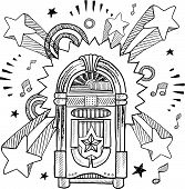 stock photo of jukebox  - Doodle style vintage jukebox with 1970s style pop explosion background - JPG