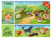 Cartoon Farm Animals Composition With Cow Goat Pig Sheep Rooster Rabbit Ostrich Turkey On Rural Land poster