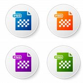Color Png File Document. Download Png Button Icon Isolated On White Background. Png File Symbol. Set poster