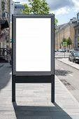 Mock Up Rectangular Vertical Lightbox On Street In City. Advertising Construction. Copy Space. Billb poster