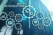 Data Integration Business Information Technology Concept On Server Room Background poster