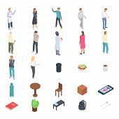 Homeless Shelter Icons Set. Isometric Set Of Homeless Shelter Vector Icons For Web Design Isolated O poster