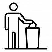 Man Throws Garbage Into Cart Icon. Outline Man Throws Garbage Into Cart Vector Icon For Web Design I poster