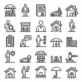 Insurance Agent Icons Set. Outline Set Of Insurance Agent Vector Icons For Web Design Isolated On Wh poster