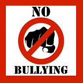 image of bullying  - stop bullying warning sign illustration with black lettering and a red frame over a white background - JPG