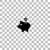 Moneybox. Black Flat Icon On A Transparent Background. Pictogram For Your Project poster