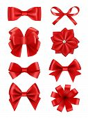 Bow Realistic. Ribbons For Decoration Hair Bow Celebration Party Items Vector Collection. Illustrati poster