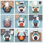 People Top View. Meeting Business Characters Desk Working Space Vector People Top View. Top View Wor poster