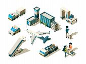 Airport Isometric. Control Travellers Checking Passengers Luggage Conveyor Entrance Arrival Service  poster