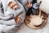 Autumn-winter Cozy Home Still Life With A Cup Of Hot Drink. poster