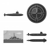 Vector Illustration Of Army And Deep Sign. Set Of Army And Nuclear Vector Icon For Stock. poster