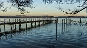 Footbridge At Lake Plauer See Idyllic Landscape poster