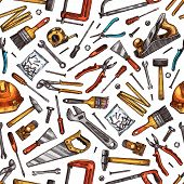 Hand Tools Seamless Pattern Background Of House Repair, Construction And Carpentry Work Vector Desig poster