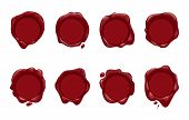 Wax Stamp Icons. Vector Wax Seal Set For Sealed Envelope Or Document Stamp Isolated On White Backgro poster