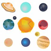 Solar System Planets And Satellites Rotate Around Sun In Its Axis. Mars, Neptune, Saturn, Uranus, Ve poster