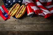 Usa National Holiday Labor Day, Memorial Day, Flag Day, 4th Of July - Hot Dogs With Ketchup And Must poster