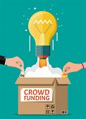 Cardboard Box, Bulb Rocket And Hands With Money. Funding Project By Raising Monetary Contributions F poster