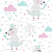 Wolf Baby Girl Cute Seamless Pattern. Sweet She-wolf With Magic Wand, Crown, Tutu, Pointe. Cloud Sta poster