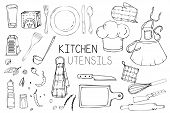Set Of Hand Drawn Illustration With Kitchen Utensils. Actual Vector Drawing Of Coocking Tools: Dish, poster