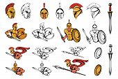 Spartan Warriors In Different Poses. Roman Warrior With A Traditional Weapon. Spartan Warrior In Gol poster