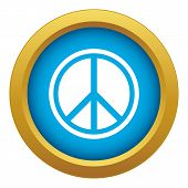 Sign Hippie Peace Icon Blue Vector Isolated On White Background For Any Design poster