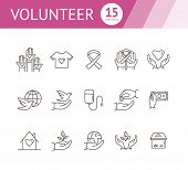 Volunteer Icons. Simple Icons Collection On White Background. Heart In Hand, Donation Box, Care Of N poster