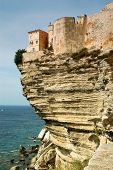 Bonifacio old town on sea cliff, Corsica, France