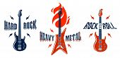 Hard Rock Emblems With Electric Guitar Vector Logo Set, Concert Festival Or Night Club Labels, Music poster