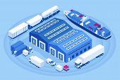 Isometric Industrial Warehouse Loading Dock. Truck With Semi Trailers Load Merchandise. Import Expor poster