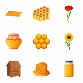 Pollen Honey Icon Set. Cartoon Set Of 9 Pollen Honey Vector Icons For Web Design Isolated On White B poster