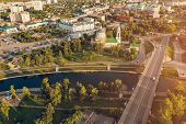 Panoramic Aerial View Of Historic Center Of Oryol City, Russia With Bridge, Oka River, Historical Bu poster
