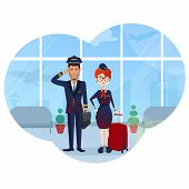 Cute, Beautiful, Stylish, Young Pilot And Flight Attendant With A Red Suitcase At The Airport, Airpl poster