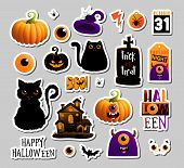 Set Of Halloweeen Stickers, Badges, Scrapbooking Elements. Happy Halloween Set. Halloween Party, Vec poster