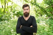His Brutal Style. Brutal Hipster Wearing Casual Style Outdoor. Bearded Man With Brutal Look Keeping  poster