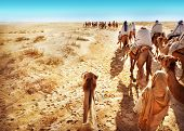pic of saharan  - Landscape with people in the Sahara desert - JPG