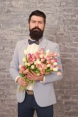 Waiting For His Girlfriend. Romantic Man With Flowers. Romantic Gift. Macho Getting Ready Romantic D poster