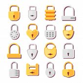 Padlock Vector Icons Lock For Safety And Security Protection With Locked Secure Mechanism Locking Sy poster