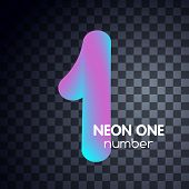 One Neon Number 1 Logo Icon Fluid Set poster