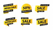 Sale Tags Collection. Special Offer, Big Sale, Discount, Best Price, Mega Sale Banner Set. Shop Or O poster