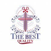Christian Cross Decorative Emblem Composed With Security Keys. Heraldic Vector Design Element. Retro poster